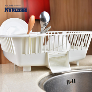 【日本Kakusee料理道具】導水式碗盤晾置籃-直放式