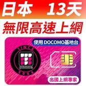 【TPHONE上網專家】日本DOCOMO 13天無限上網卡 每天300MB 4G高速上網 當地原裝卡