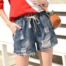 短褲 鬆緊腰破洞牛仔短褲女夏季熱褲高腰三...