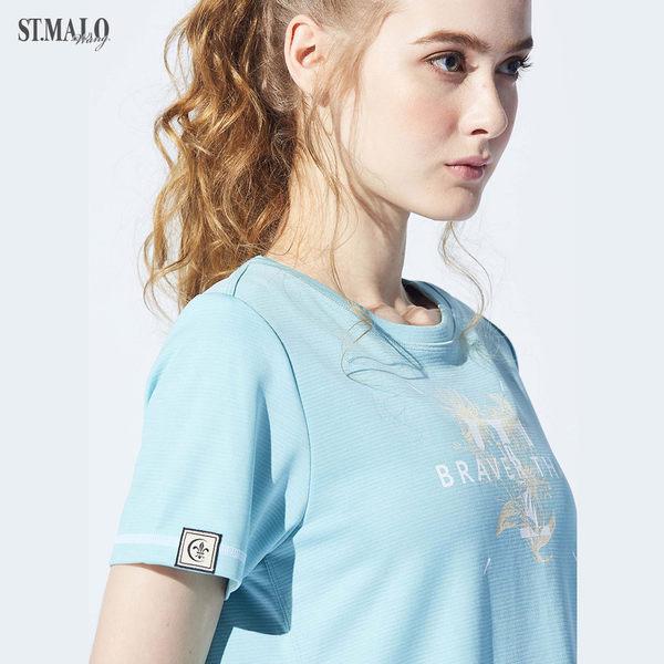 【ST.MALO】台灣製親子裝花漾奔放咖啡紗女T恤-1922WT-水煙藍
