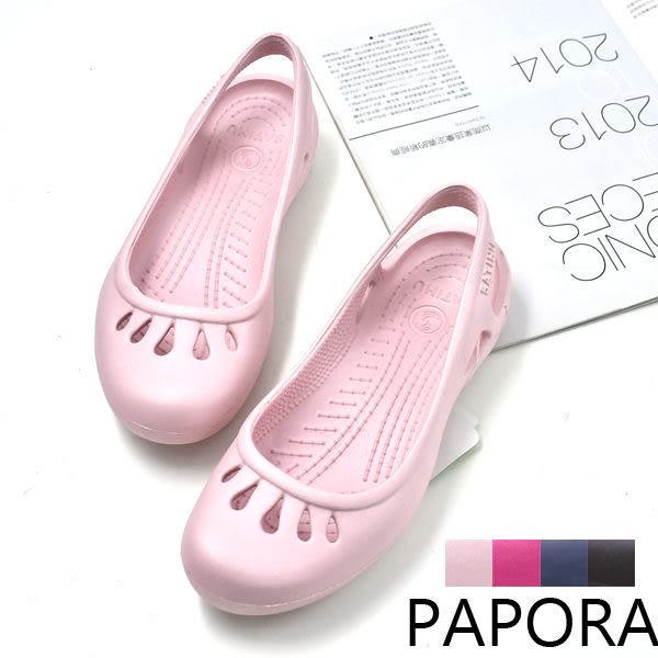 涼鞋.輕量防水Q彈舒適平底涼拖鞋雨鞋【KDR008】粉色/桃色/藍色/咖色