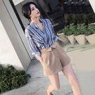 限時38折 韓系時尚氣質chic襯衫洋氣寬口短褲套裝長袖裙裝