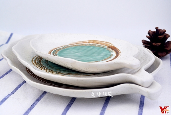 【堯峰陶瓷】日式餐具 綠如意系列 9.5吋芭蕉葉盤(單入) 水果盤|早餐盤|西盤餐|套組餐具系列