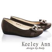 ★零碼出清★Keeley Ann甜美氣息~蝴蝶結方格紋全真皮娃娃鞋(咖啡色)