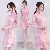 改良版旗袍 少女旗袍 連身裙 夏季短款 新式 時尚 年輕款 中國風洋裝