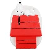 小禮堂 史努比 造型塑膠夾式收納盒 磁吸收納盒 冰箱收納盒 鑰匙盒 小物盒 (紅白 狗屋) 4973307-47793