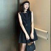 韓風chic復古暗黑繫帥氣百搭寬鬆無袖收腰顯瘦闊腿連體褲短褲女夏 新北購物城