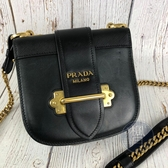 BRAND楓月 PRADA 黑綠色 金色 皮革 CAHIER 側背包 肩背包 小包