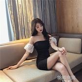 2020年夏季新款修身洋裝一字肩露肩性感小心機黑色裙子夜店女裝