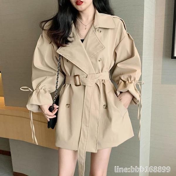 风衣外套 短款風衣女薄款小個子長袖連衣裙秋裝韓版流行西裝領收腰顯瘦外套 瑪麗蘇