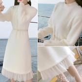 針織連身裙配大衣的裙子過膝中長款毛衣裙內搭冬針織打底白色連身裙女秋冬季 芊墨左岸