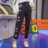 【春季上新】原創設計森女部落刺繡牛仔褲黑色高腰寬鬆2019新款韓版ulzzang