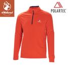 【Wildland 荒野 男 POLARTEC拉鍊長袖上衣《橘紅》】P1608/半領襟/運動衣/吸濕排汗/休閒衫
