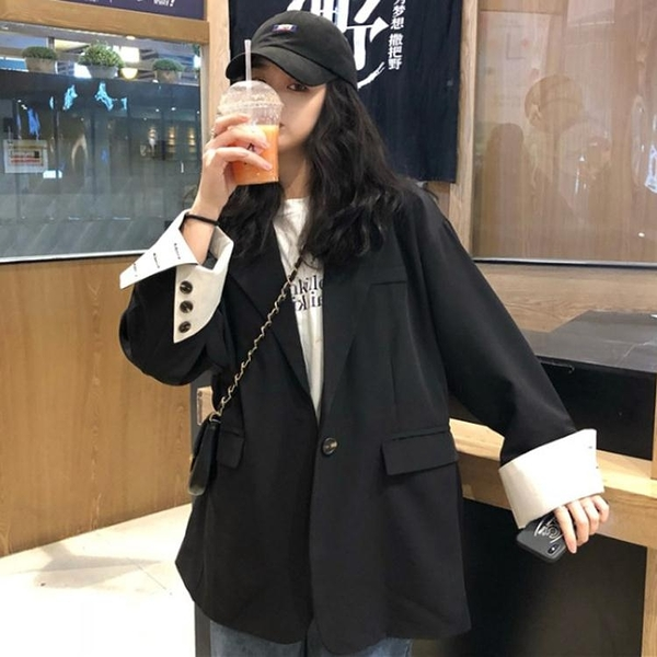 秋季黑色寬鬆復古小香風休閒西裝外套港味女英倫風網紅上衣韓版潮