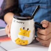 馬克杯馬克杯帶蓋勺杯子女可愛創意個性潮流早餐水杯陶瓷杯咖啡杯ins風【快速出貨】