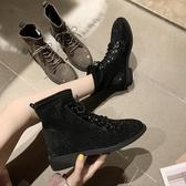 短靴 2019新款秋季百搭絨面滿鉆復古系帶方頭休閒短靴平底女靴子機車靴