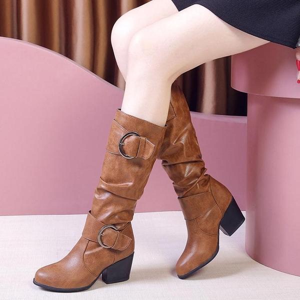中筒靴 中筒靴女粗跟2021秋冬新款復古高筒女靴英倫風馬丁靴女瘦瘦高跟靴 艾維朵
