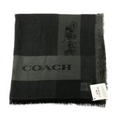 【COACH】經典馬車LOGO 羊毛混莫代爾絲巾圍巾(黑)