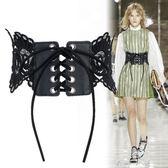 2018春夏時尚蕾絲綁系帶穿繩腰帶女寬裝飾洋裝子襯衫腰封黑白色   米娜小鋪