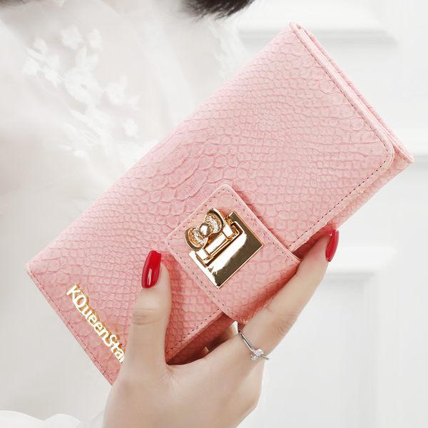 全館83折 KQueenStar女士錢包 女長款日韓拉?小清新簡約搭扣學生錢夾皮夾