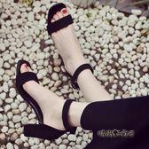 一字扣帶露趾涼鞋女中跟夏季2017新款韓版時尚女鞋羅馬高跟女士鞋