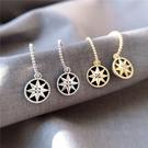 法式浪漫星盤耳環女925銀針韓國個性網紅耳墜高級感氣質複古耳飾