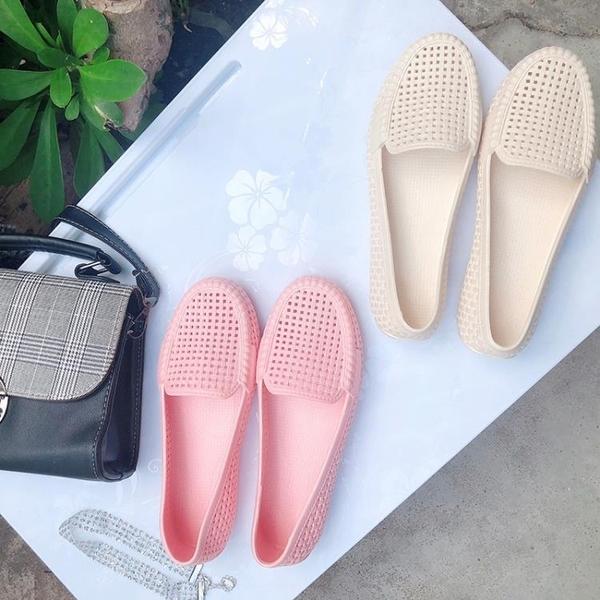 洞洞鞋 包頭塑料軟底鏤空護士涼鞋厚底女鞋夏平底