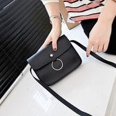6007#秋季潮流新款圓環橫款小方包繩子小包包單肩斜跨學生手機包
