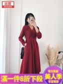雪紡洋裝法式小眾雪紡長裙秋裝新款紅色V領長袖連衣裙收腰顯瘦氣質裙-『美人季』