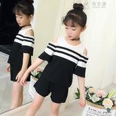 女童兩道杠套裝新款韓版純棉拼接T恤闊腿褲漏肩套裝 俏女孩