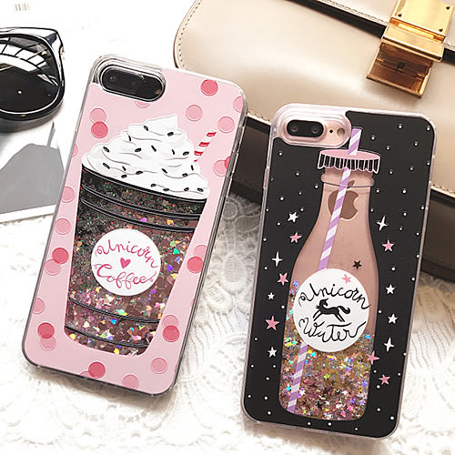 冰淇淋 / 獨角獸 流沙iPhone8 手機殼 I7plus 閃粉殼 i6splus 矽膠保護套【魔幻甜心】
