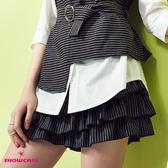 【SHOWCASE】俐落條紋層次蛋糕褲裙(黑)