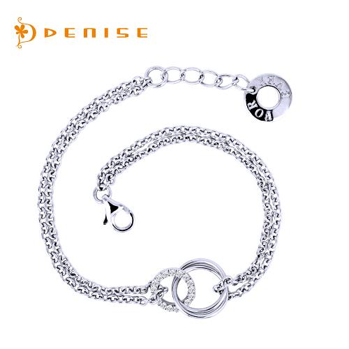 手鍊 925純銀手鍊「相伴」銀飾禮品/情人禮物