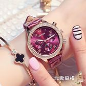 快速出貨-鑲?皮質新品仿三眼非機械時尚潮流女士石英手錶女防水時裝錶