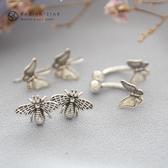[925純銀]心靈相應小蜜蜂小蝴蝶耳環【SL339】璀璨之星☆
