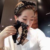 韓國東大門新品蕾絲豹紋黑白點蝴蝶小結發箍時尚百搭發卡