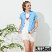 【JEEP】女裝 造型緹花格紋短袖襯衫-天空藍