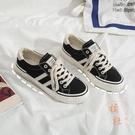 餅乾鞋黑色帆布鞋女鞋復古低幫學生休閒鞋板鞋【橘社小鎮】