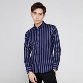 深藍色/M碼 男條紋襯衫 春季條紋男長袖修身免燙商務休閒寸衫韓版襯衣男襯衫C0478