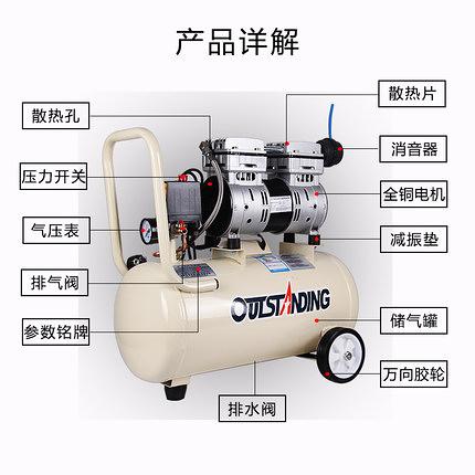 空壓機空壓機小型高壓氣泵空壓機220V奧突斯靜音無油木工噴漆便攜充氣泵    汪喵百貨