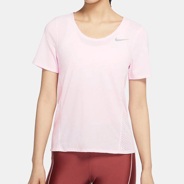 NIKE CITY SLEEK 女裝 短袖 慢跑 訓練 排汗 透氣 反光 粉【運動世界】CU3235-663
