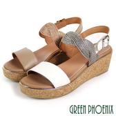 U2-2A191 女款全真皮楔型涼鞋 軟木塞皮革拼接編織厚底涼鞋【GREEN PHOENIX】