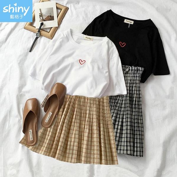 【V3073-1】shiny藍格子-瑕疵特賣‧愛心寬鬆上衣格紋短裙兩件式套裝