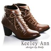★2016秋冬★Keeley Ann法式浪漫~反摺綁帶造型全真皮中跟短靴(棕色)