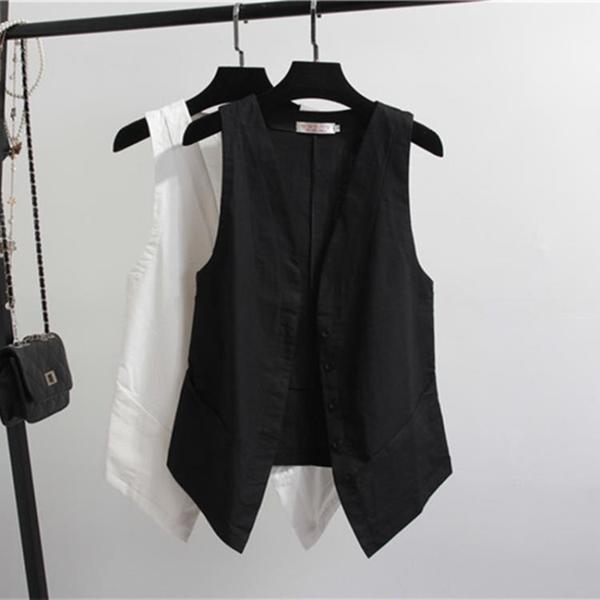 棉麻馬甲女外穿薄款2020夏季短款黑色背心休閒女士時尚小馬夾外搭 【ifashion·全店免運】