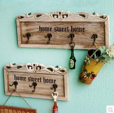 美式鄉村田園復古木質服裝店收納壁掛牆上裝飾傢居掛鉤衣帽鉤