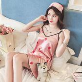 睡裙睡衣女夏季短髮兩件套裝性感短髮冰絲吊帶睡裙夏天棉質家居服絲綢 1件免運