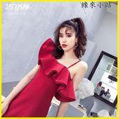晚禮服 吊帶紅色宴會洋裝小禮服短款