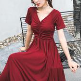 $399出清 韓系名媛氣質短袖收腰v領顯瘦褶皺短袖洋裝