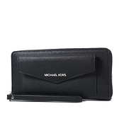 美國正品 MICHAEL KORS 專櫃款 前置物防刮皮革手掛式拉鍊長夾-黑色【現貨】